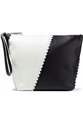 DIANE VON FURSTENBERG Origami two-tone leather clutch