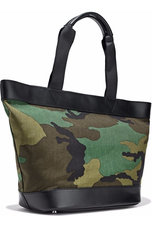 Alexander Wang Woman Leather-paneled Printed Canvas Tote Army Green Size Alexander Wang r8vm3GNPDO