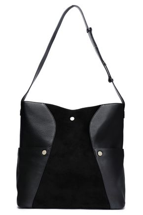 HALSTON HERITAGE Paneled studded leather and suede shoulder bag