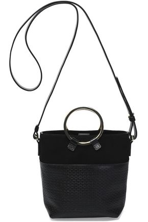 HALSTON HERITAGE Nubuck-paneled embossed-leather shoulder bag