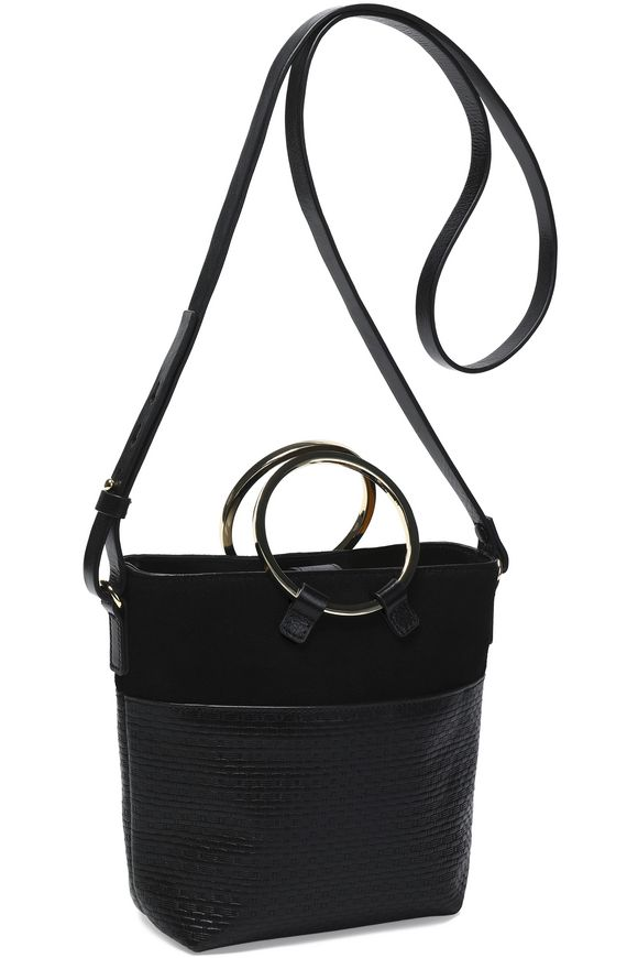 d417290c29 Suede and woven leather bucket bag