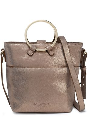 HALSTON HERITAGE Metallic cracked-leather bucket bag ... 0f27bc573d9d3