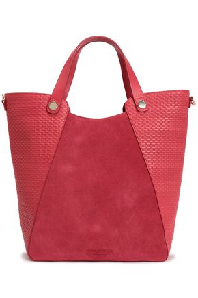 HALSTON HERITAGE Woven leather and suede tote