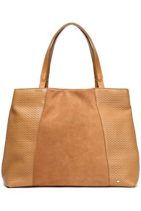 HALSTON HERITAGE Paneled woven leather and suede tote