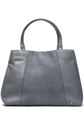 HALSTON HERITAGE Suede-paneled textured-leather tote