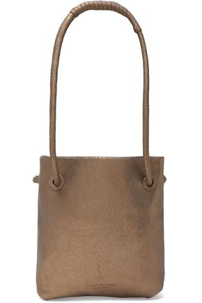 HALSTON HERITAGE Metallic cracked-leather bucket bag