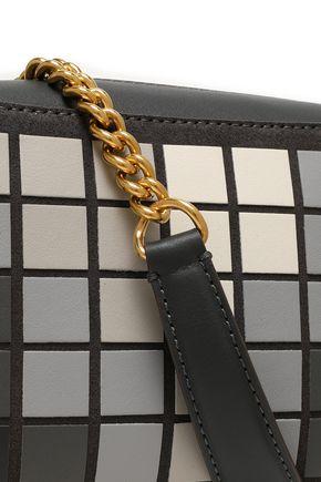 ANYA HINDMARCH Giant Pixel appliquéd suede and leather shoulder bag