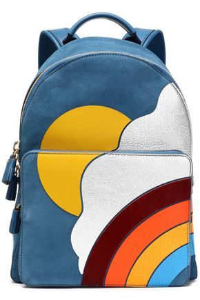 ANYA HINDMARCH Leather-appliquéd suede backpack