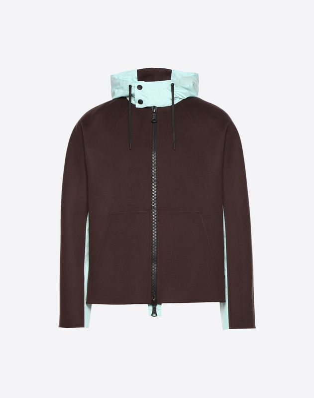 Casual double wool cloth and nylon jacket