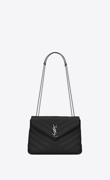 "SAINT LAURENT Monogramme Loulou Woman small loulou chain bag in black ""y"" matelassé leather a_V4"