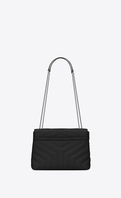 "SAINT LAURENT Monogramme Loulou Woman small loulou chain bag in black ""y"" matelassé leather b_V4"