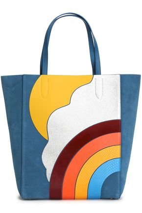 ANYA HINDMARCH Ebury smooth and snake-effect leather-appliquéd suede tote