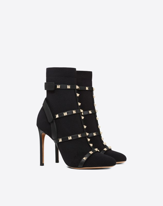 Rockstud ankle boot with straps 105 mm
