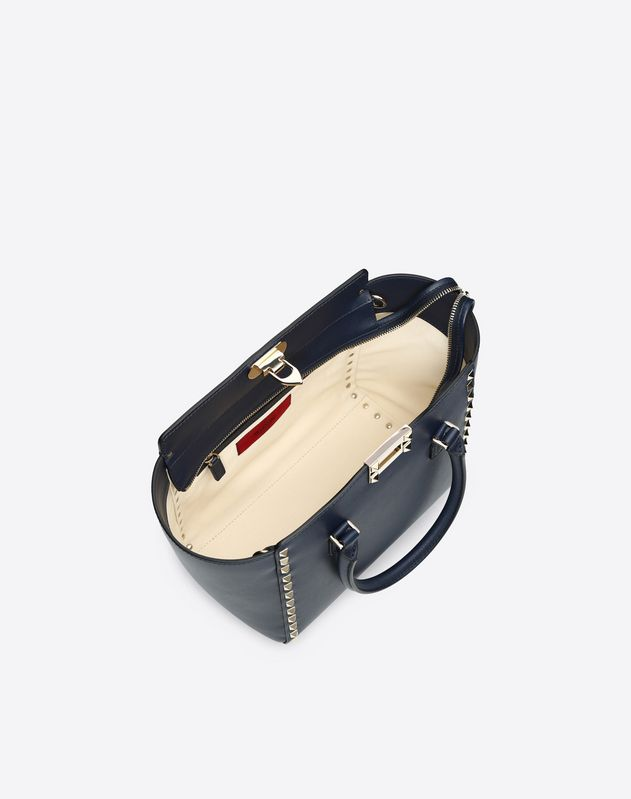 Small Navy Rockstud Double Handle Bag
