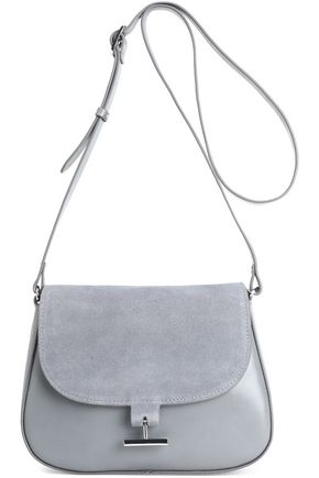 HALSTON HERITAGE Suede-paneled leather shoulder bag
