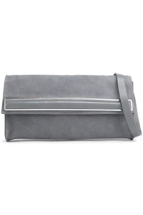 9fa6d6666d HALSTON HERITAGE Leather-trimmed embellished suede clutch ...