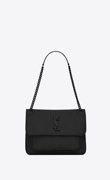 SAINT LAURENT Niki bags Woman Medium NIKI chain bag in black alligator a_V4