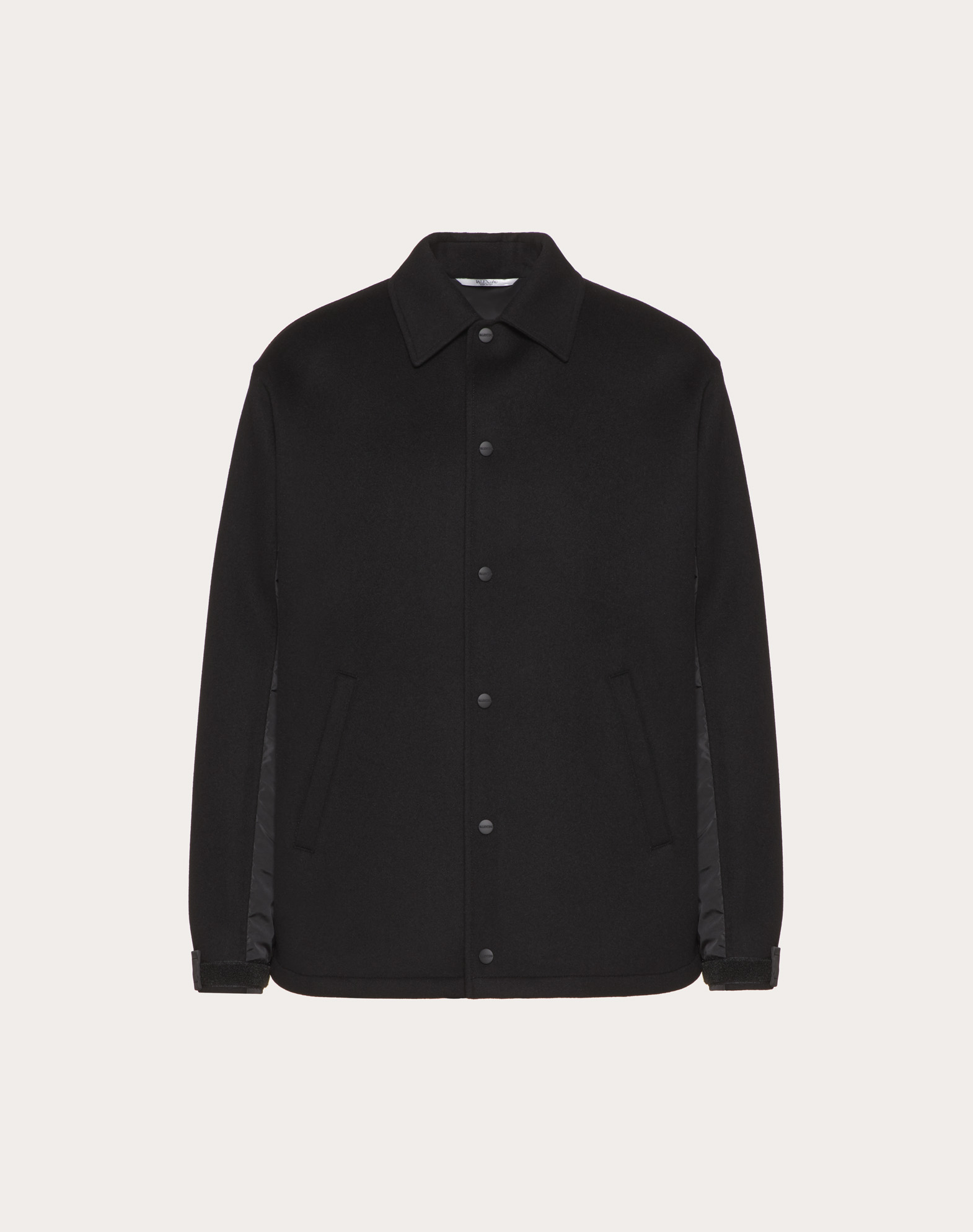 Double wool cloth and nylon coach jacket