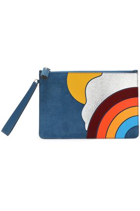 ANYA HINDMARCH Suede, smooth and snake-effect leather pouch
