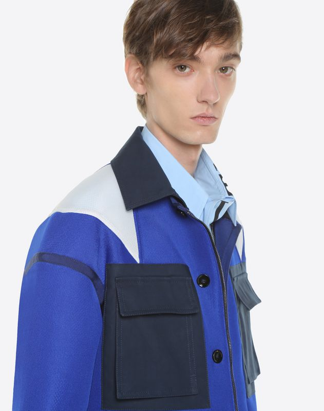 Nylon blouson with inlays