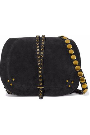 JÉRÔME DREYFUSS Eyelet-embellished studded suede shoulder bag