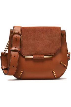 SANDRO Suede-paneled leather shoulder bag