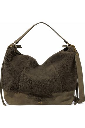 JÉRÔME DREYFUSS Roger shearling-paneled suede shoulder bag