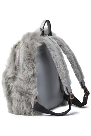 Anya Hindmarch Eyes Leather Trimmed Shearling Backpack