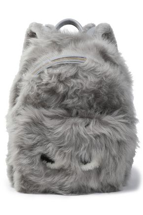 ANYA HINDMARCH Eyes leather-trimmed shearling backpack