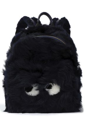 ANYA HINDMARCH Leather-trimmed shearling backpack