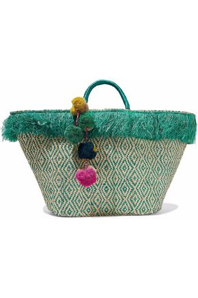 KAYU Pompom-embellished fringed woven straw tote