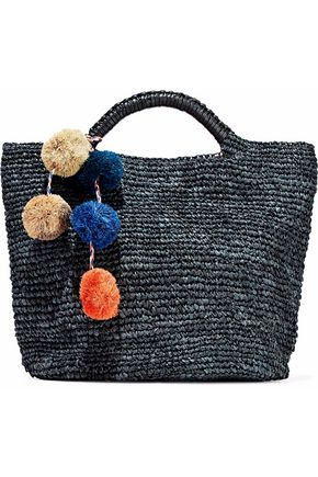 KAYU Belle pompom-embellished woven straw tote