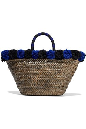 KAYU Pompom-embellished woven straw tote
