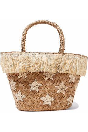 KAYU embroidered straw tote