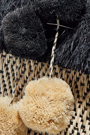 KAYU Pompom-embellished fringed straw tote