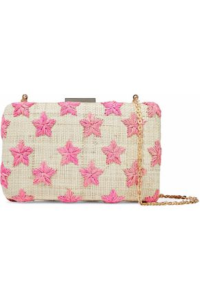 KAYU Embroidered woven straw clutch