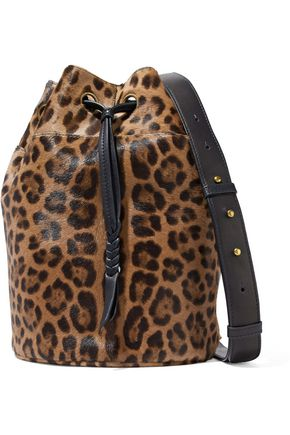 JÉRÔME DREYFUSS Popeye leopard-print calf hair bucket bag