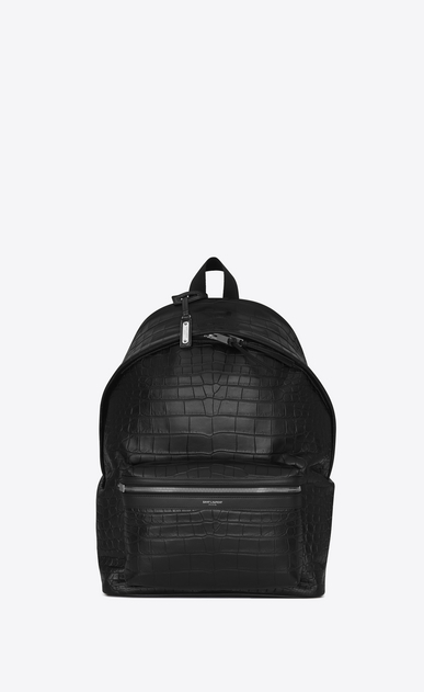 SAINT LAURENT City Backpack Man city backpack in black crocodile embossed leather a_V4