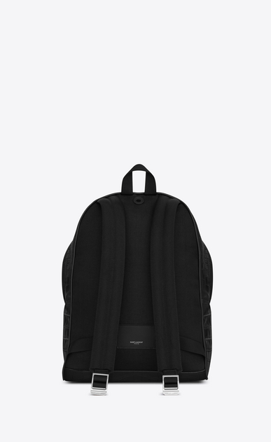 SAINT LAURENT City Backpack Man classic city backpack in black crocodile embossed leather b_V4