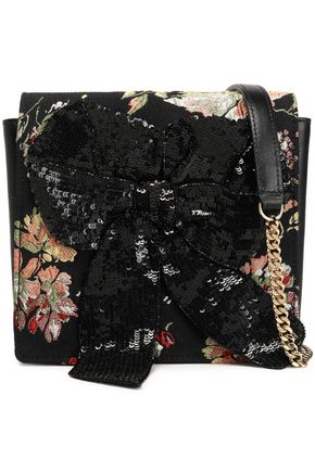 ROCHAS Sequined bow-embellished leather and jacquard shoulder bag