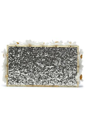 CHARLOTTE OLYMPIA Floral-appliquéd glittered Perspex box clutch