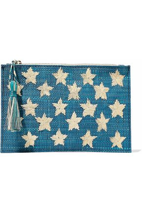 KAYU Star embroidered straw pouch