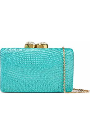 KAYU Embellished straw clutch