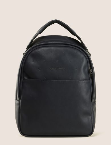 EMBOSSED FAUX-LEATHER BACKPACK