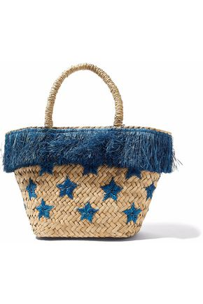KAYU Fringed embroidered straw tote