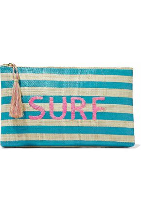 KAYU Embroidered striped straw pouch