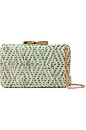 KAYU Embellished woven straw clutch