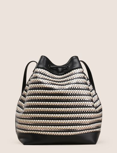 METALLIC WEAVE BUCKET BAG
