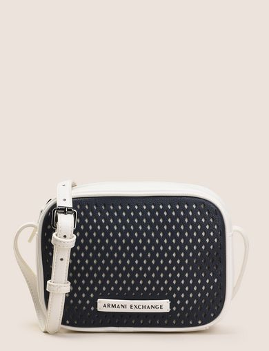 DIAMOND PERFORATED ZIP-TOP CROSSBODY