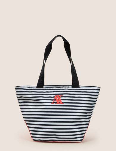 STRIPED EMBROIDERED LOGO TOTE